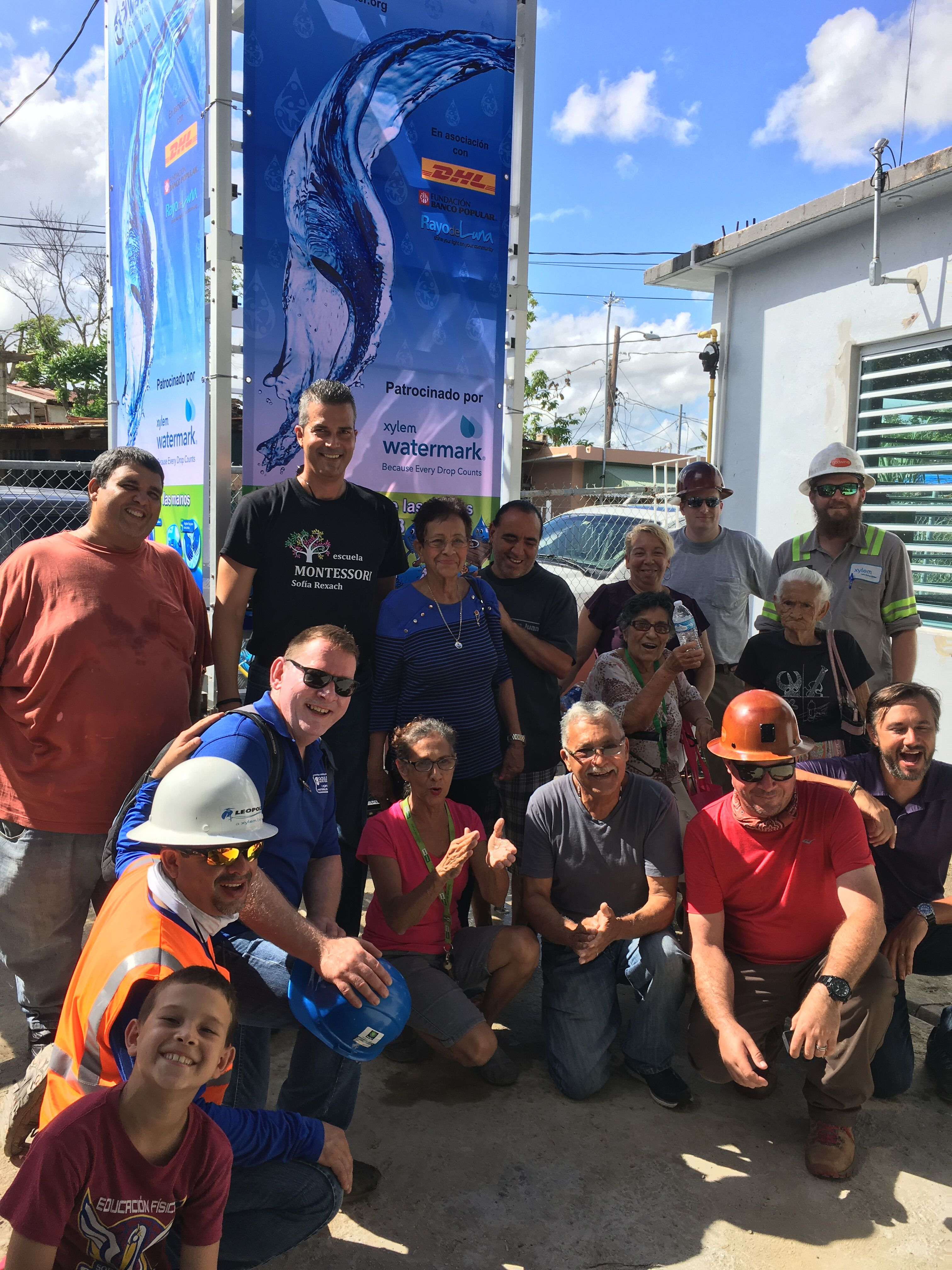 Team of Xylem employees volunteer their time to construct an AquaTower in Puerto Rico following Hurricane Maria. The AquaTower, supplied by Xylem's partner Planet Water Foundation, provides safe, clean water to more than 1,000 people per day