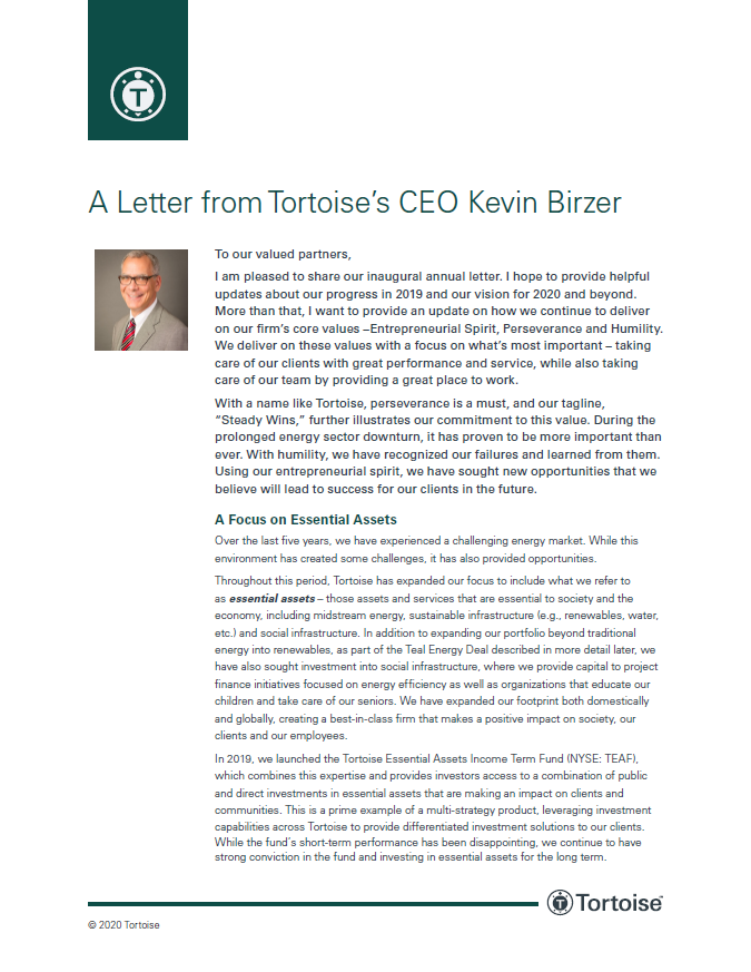 A Letter from Tortoise's CEO Kevin Birzer