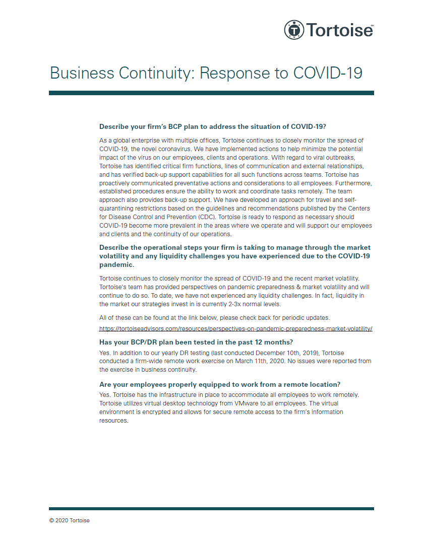 Business Continuity: Response to COVID-19