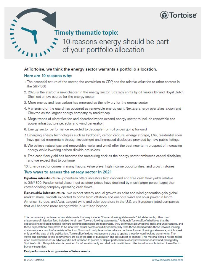 Timely thematic topic: 10 reasons energy should be part of your portfolio allocation